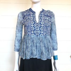 Lucky Brand Boho Embroidered Blouse Xs Blue